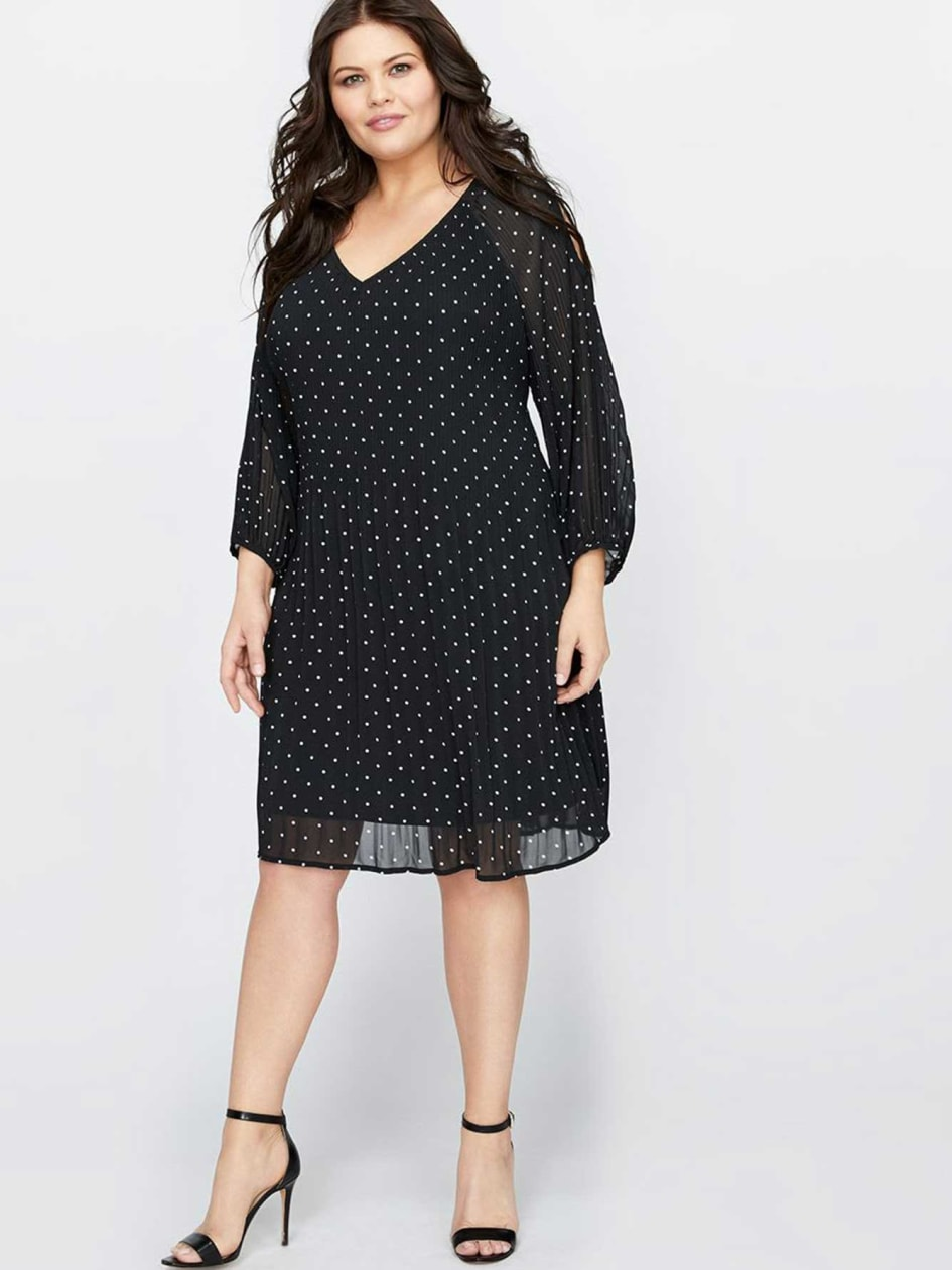 Michel Studio Raglan Sleeve Polka Dot Dress