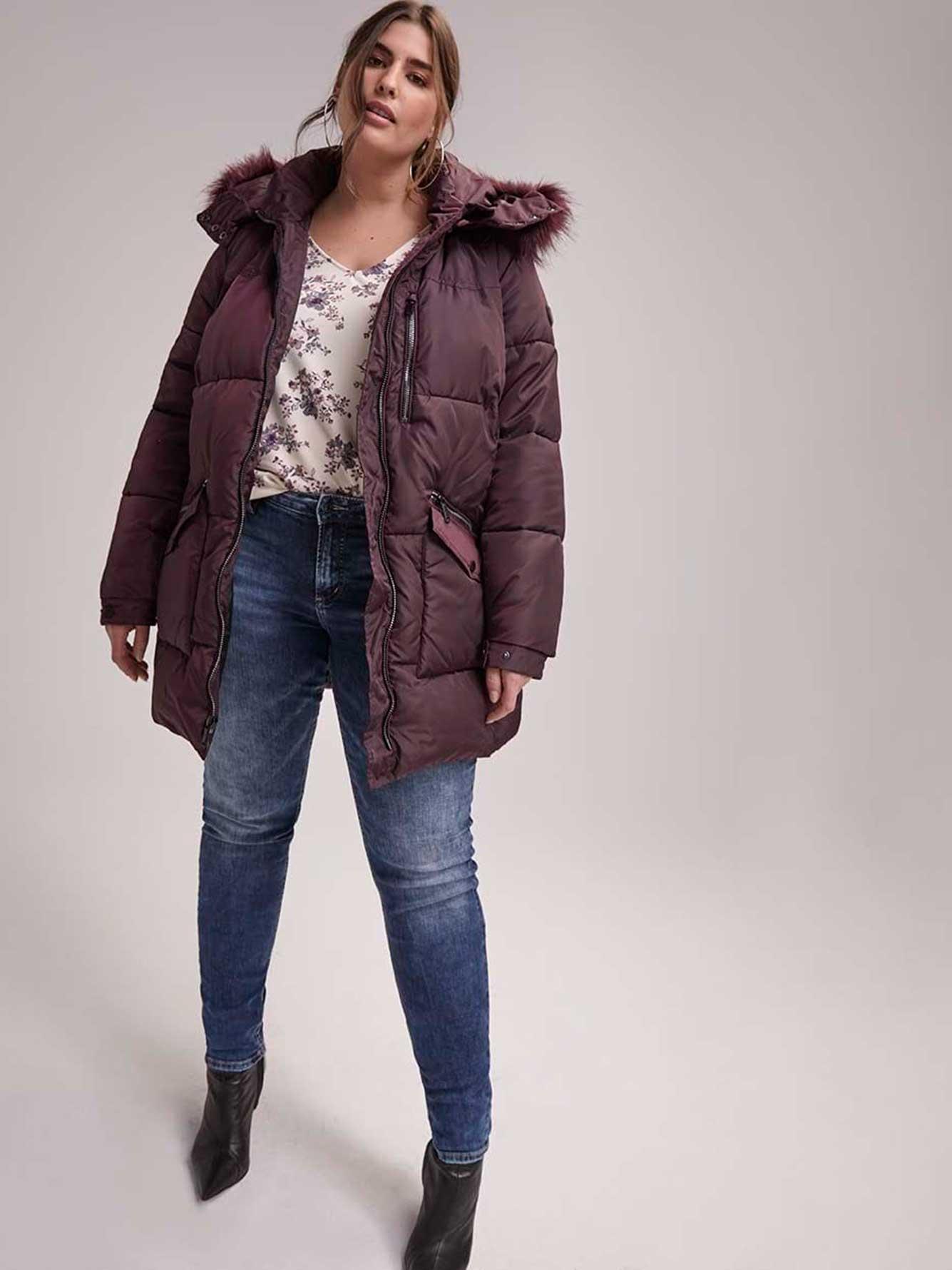 53d6ae30bfc Jacket with Faux Fur Hood Trim - RACHEL Rachel Roy | Addition Elle
