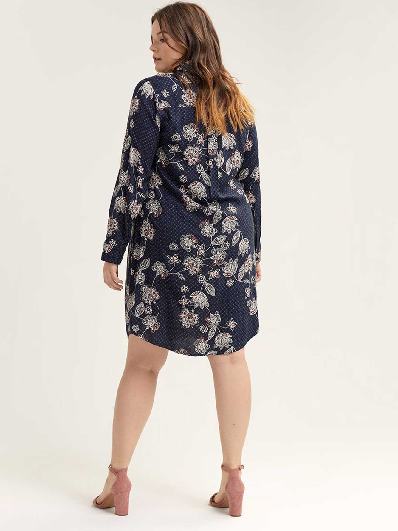 Button-Down Floral Shirt Dress with Knot - Michel Studio
