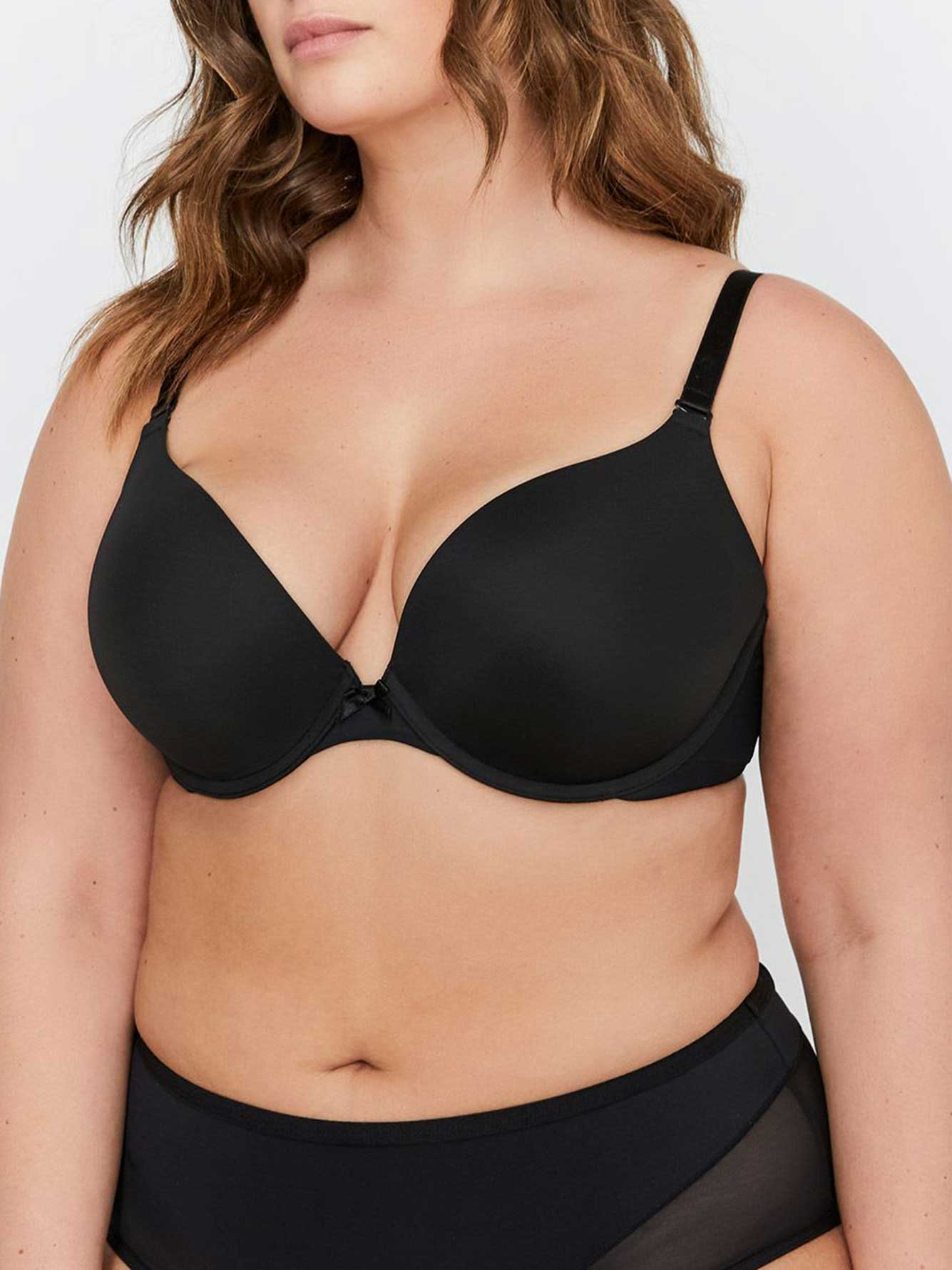 f64b5a5e1d Smooth Plunge Push Up Bra Sizes G   H - Déesse Collection ...