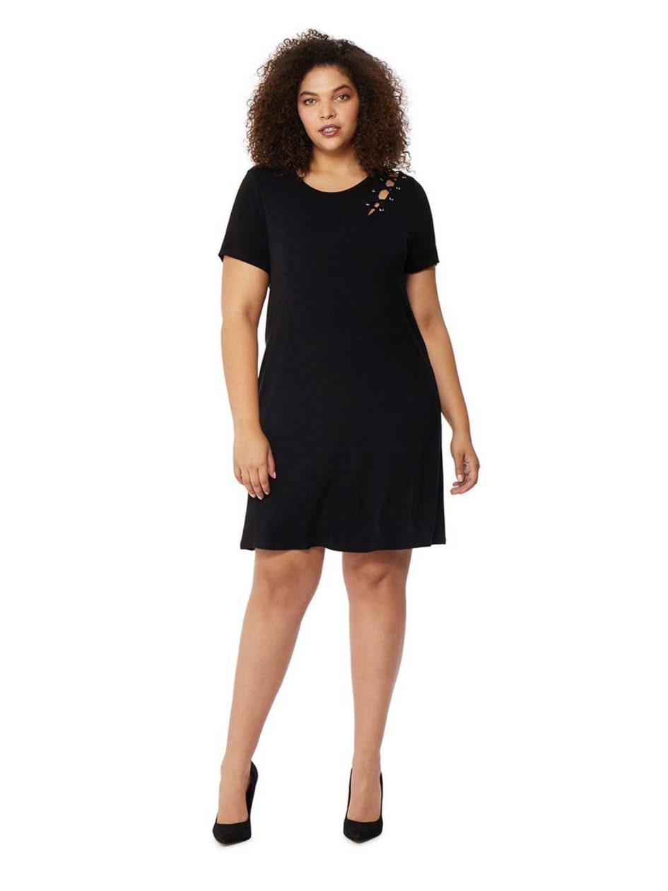 Rebel Wilson Shoulder Lace-up T-shirt Dress