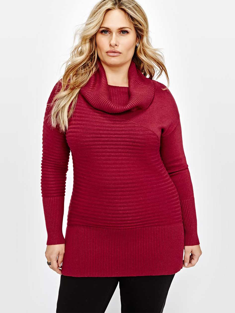 Michel Studio Cowl Neck Ribbed Sweater.Rumba red.3X 87275524
