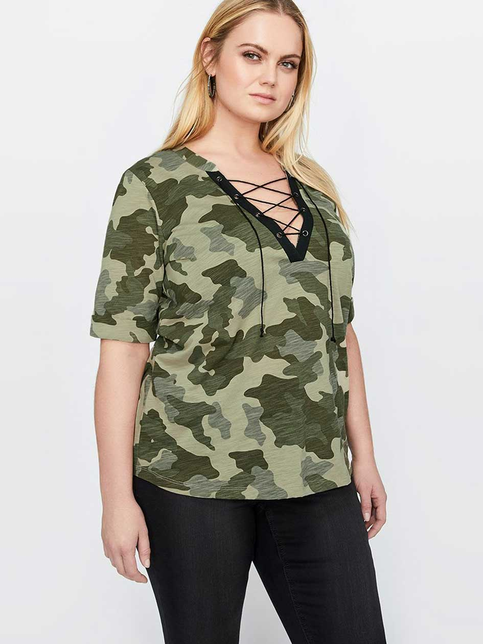 L&L Lace-Up Camo V-Neck T-shirt