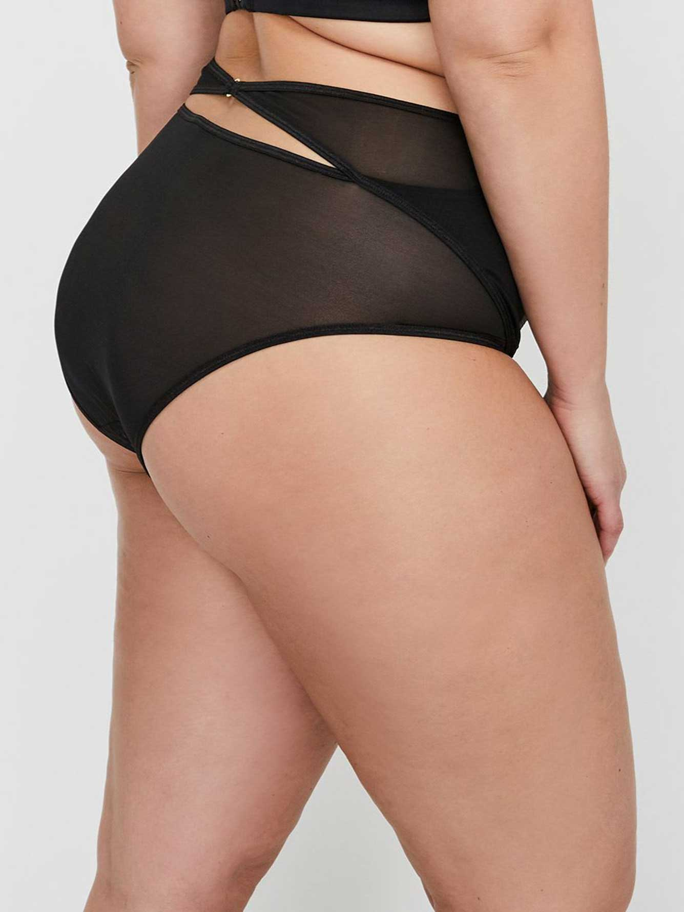 Ashley Graham High Waist Shadow Stripe Panty