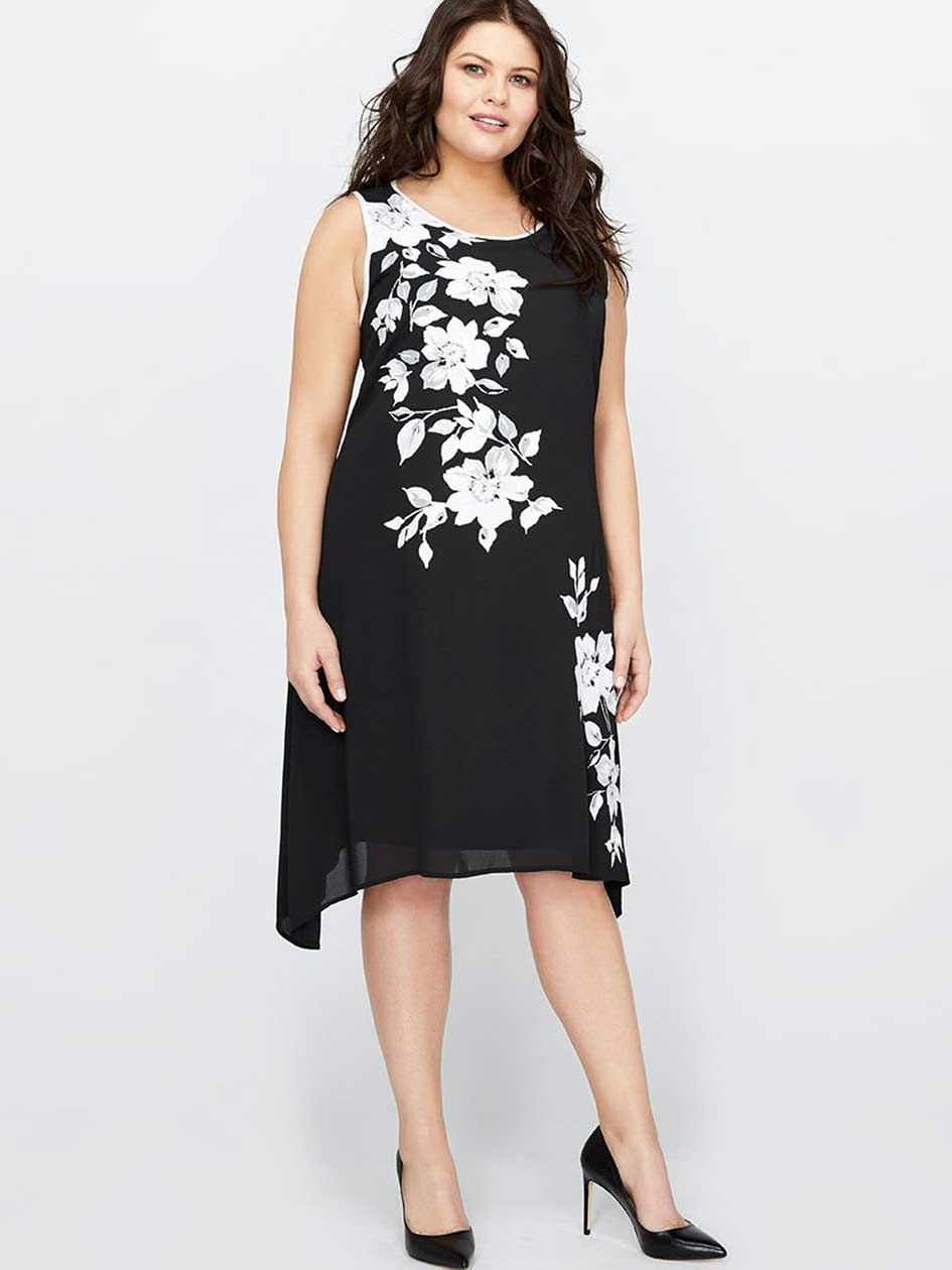 Michel Studio Flower Print Swing Dress