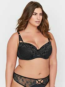 Ashley Graham Essentials Lace and Striped Showstopper Bra