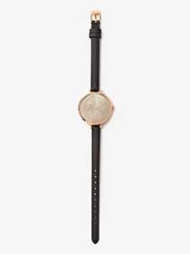 Rose Gold Metal Watch with Pleather Band