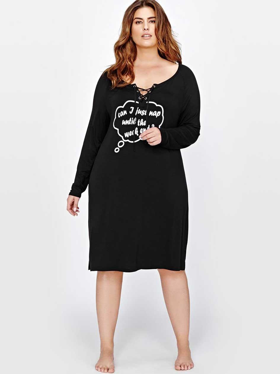 Lace-Up Neckline Sleepshirt