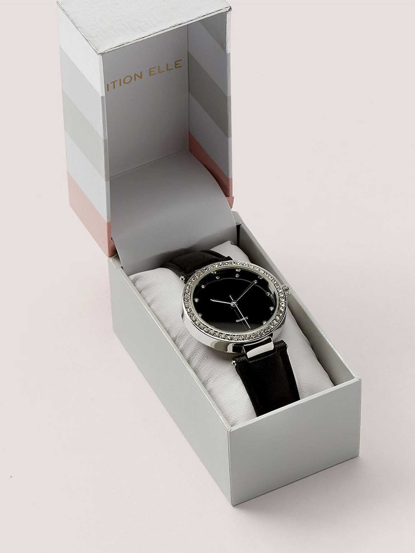Black Watch with Stones Dial with Gift Box