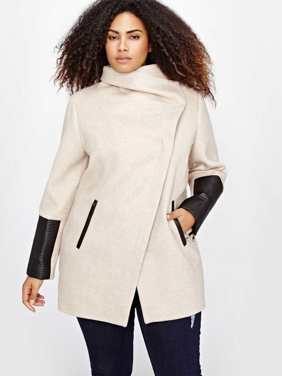 Marcona Asymmetrical Wool Blend Coat.Oatmeal.3X