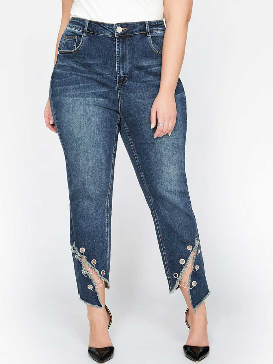 L&L Slim High Waist Jeans with Angled Slit Hem