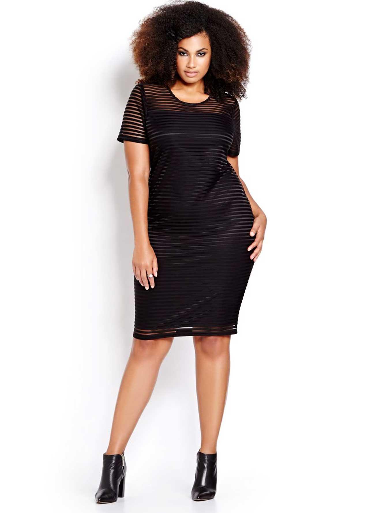 MXM Short Sleeve Striped Mesh Bodycon Dress | Addition Elle