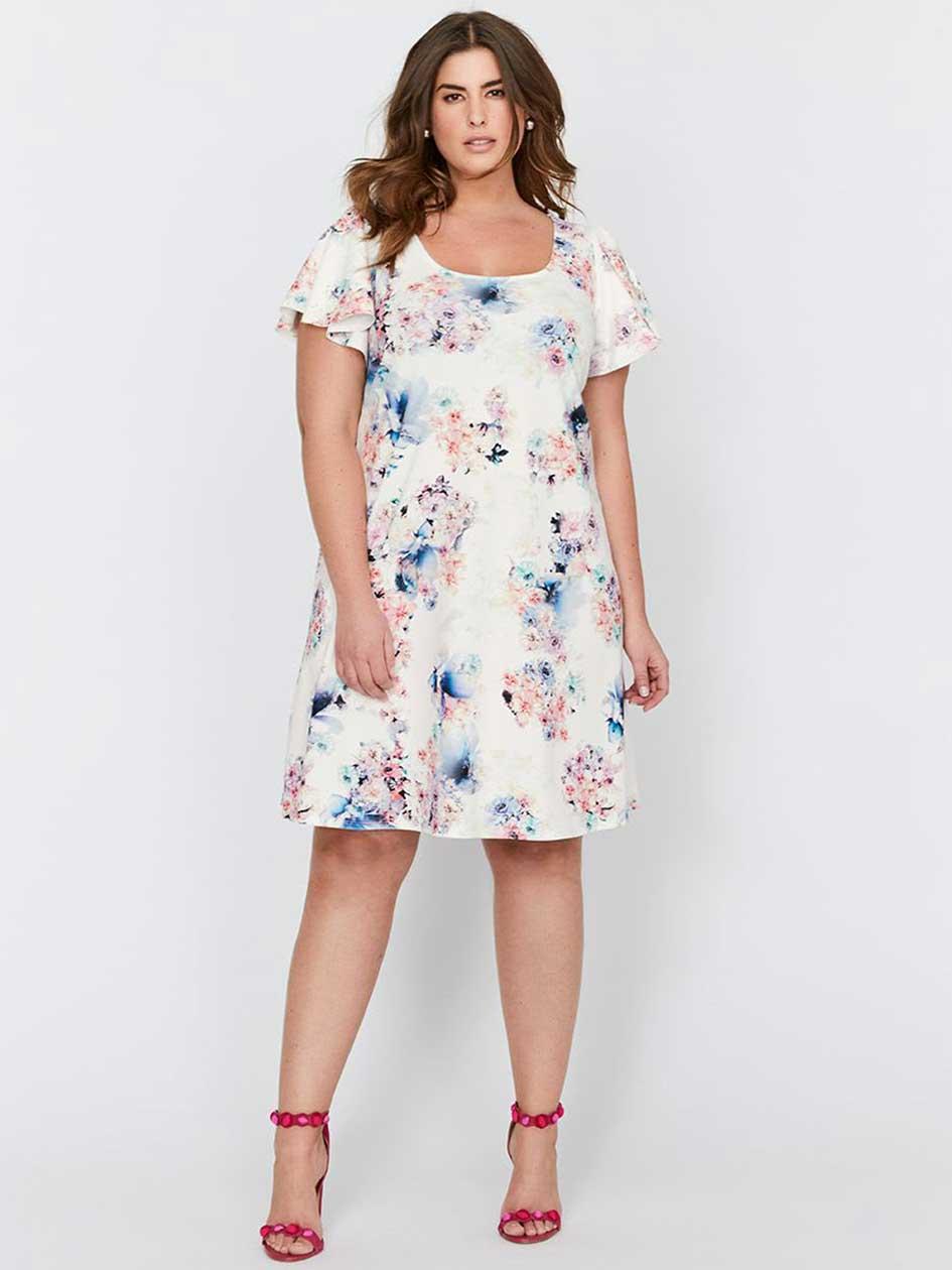 Michel Studio Short Sleeve Floral Dress
