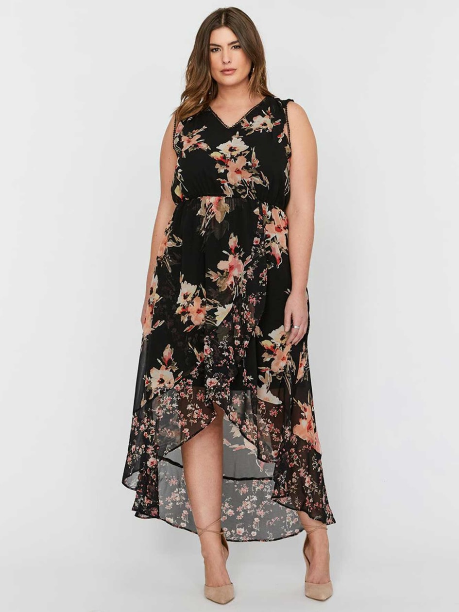 Michel Studio, Sleeveless, High Low Maxi Wrap Printed Dress