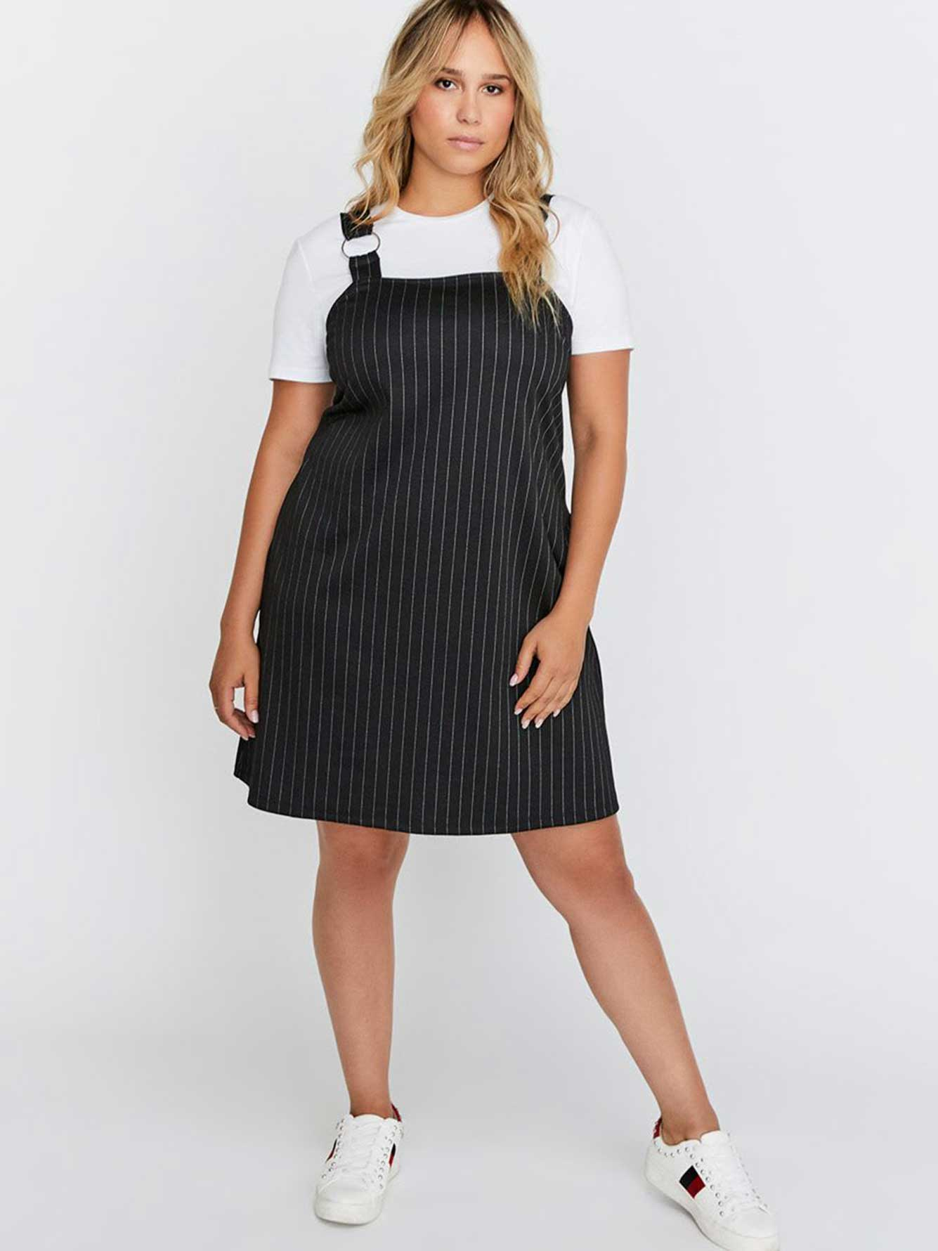 Striped Pinafore Dress with Ring - Michel Studio | Addition Elle