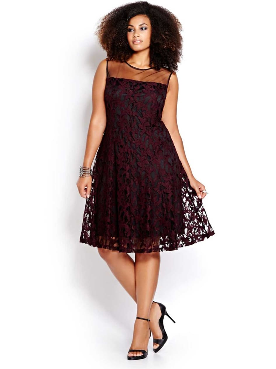 New Noir Lace and Mesh Fit and Flare Dress