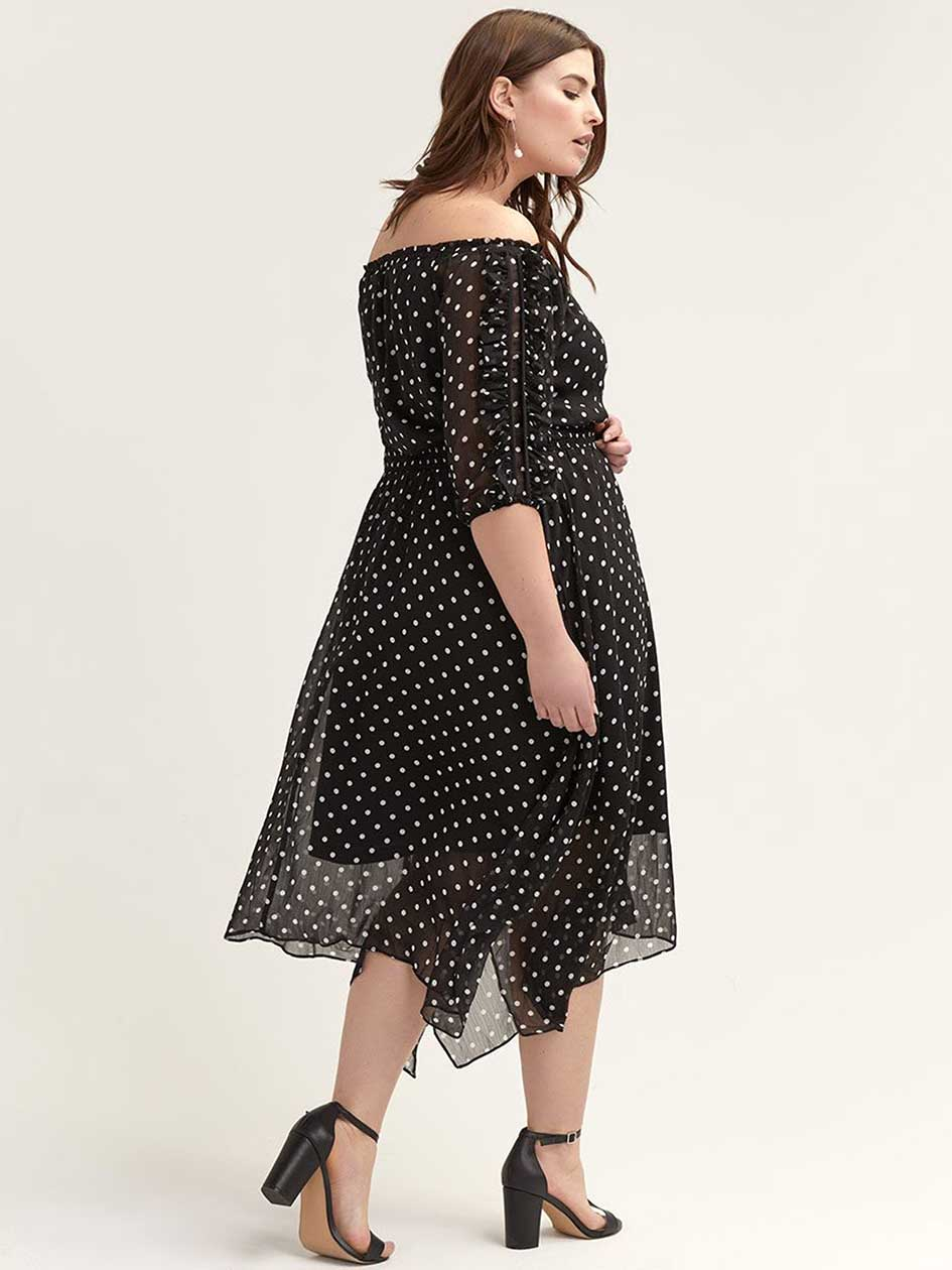 Off-the-Shoulder Ruffle-Sleeve Dot Dress - City Chic