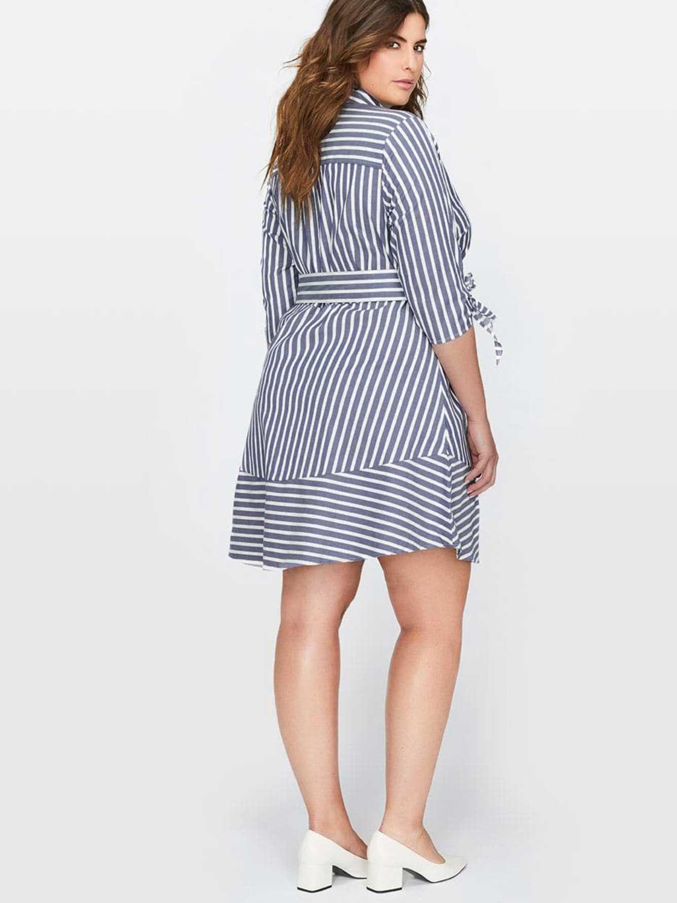 c8764ec55 Michel Studio Blue Striped Shirt Dress | Addition Elle