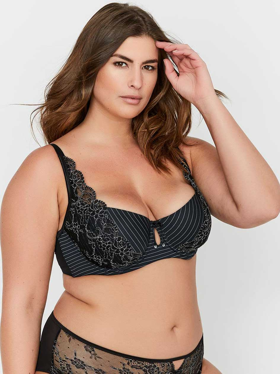 Ashley Graham Lace and Striped Diva Bra