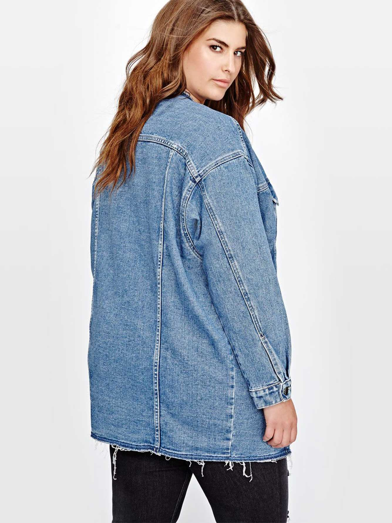 L&L Oversized Boyfriend Denim Jacket | Addition Elle