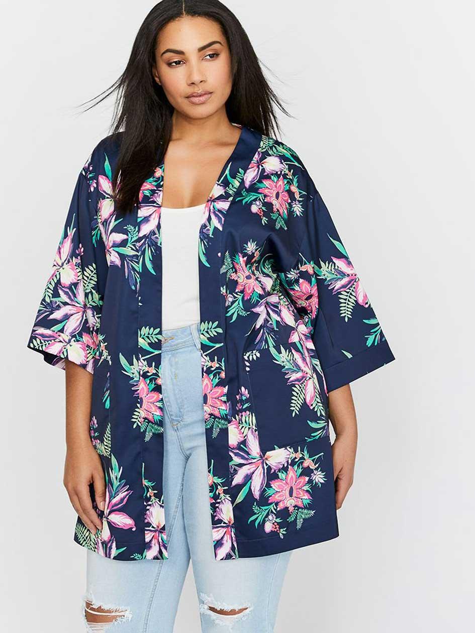 Michel Studio Three-Quarter Sleeve Floral Kimono