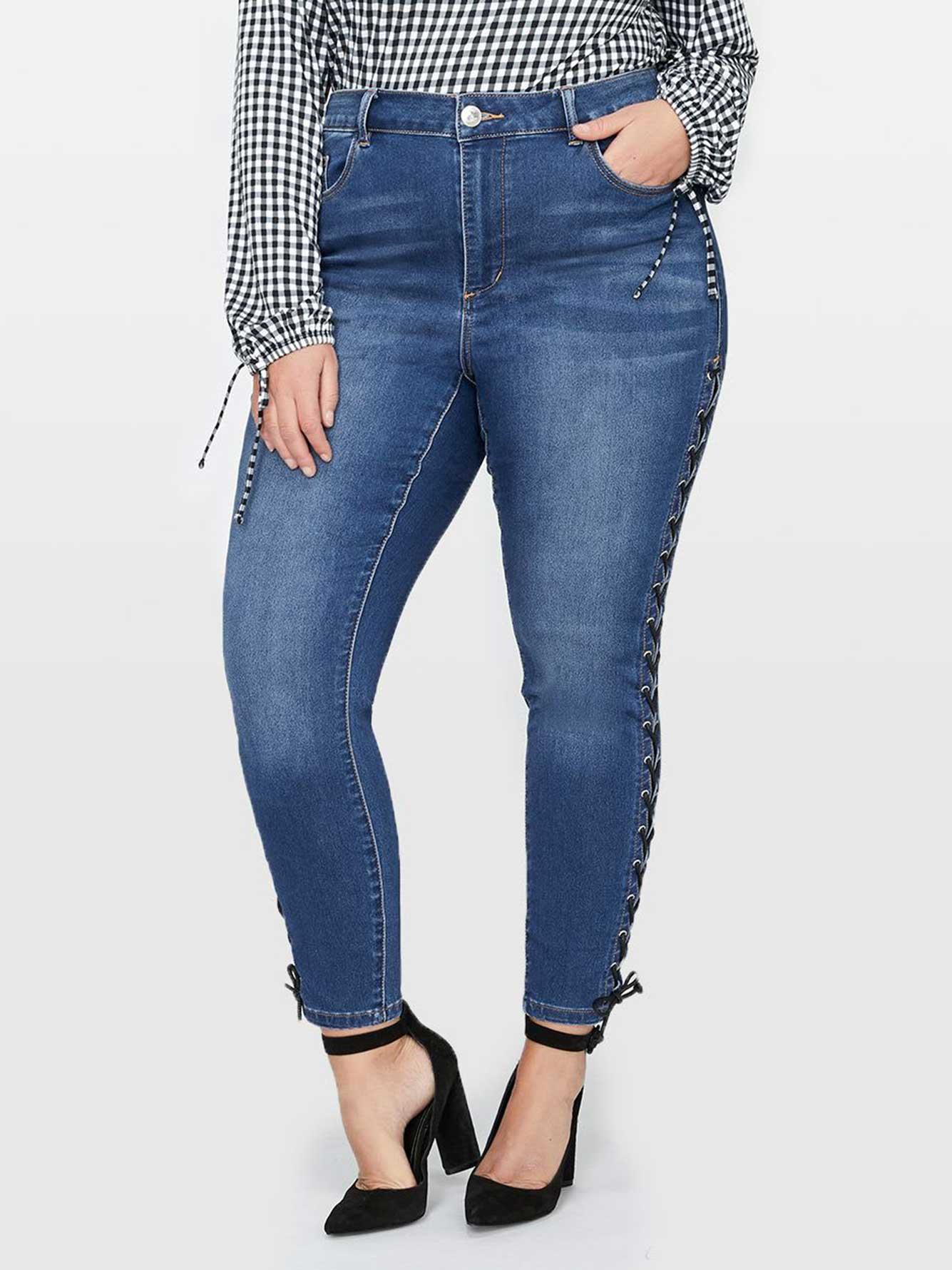 L&L Skinny Jean with Lace-Up Side