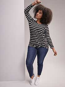 Premium Essential Striped Front Twist Top - Michel Studio