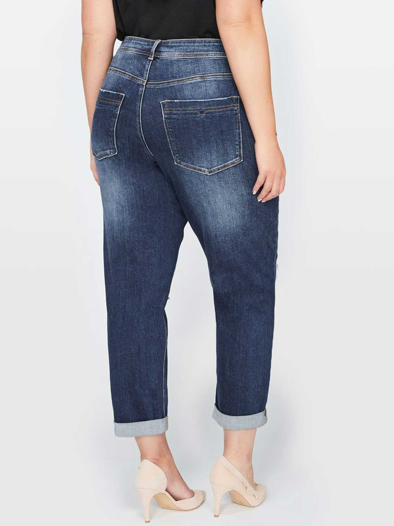 L&L Boyfriend Denim With Rips and Pearls