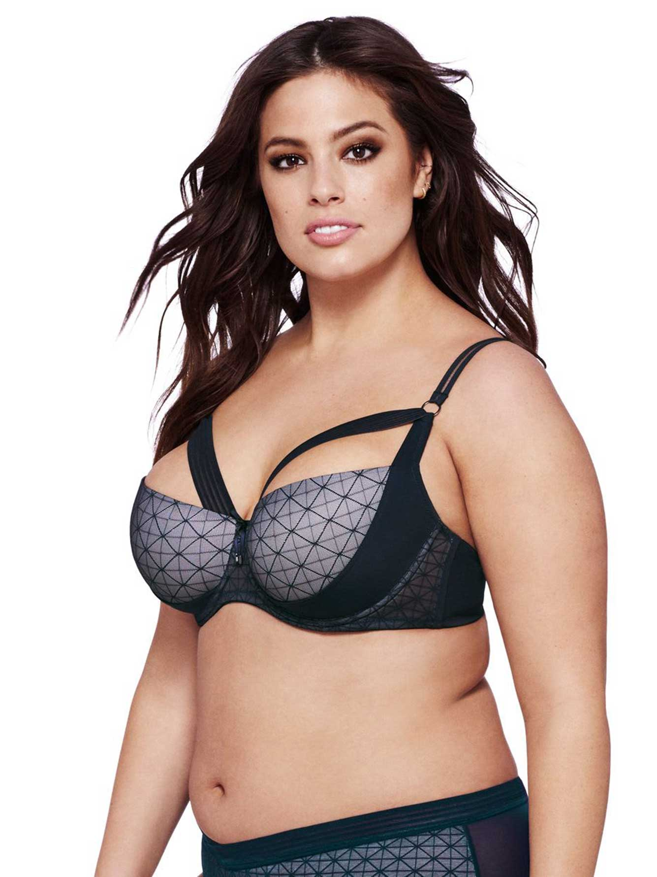 Ashley Graham Grey Diva Demi Cup Underwire Bra, Sizes G & H ...