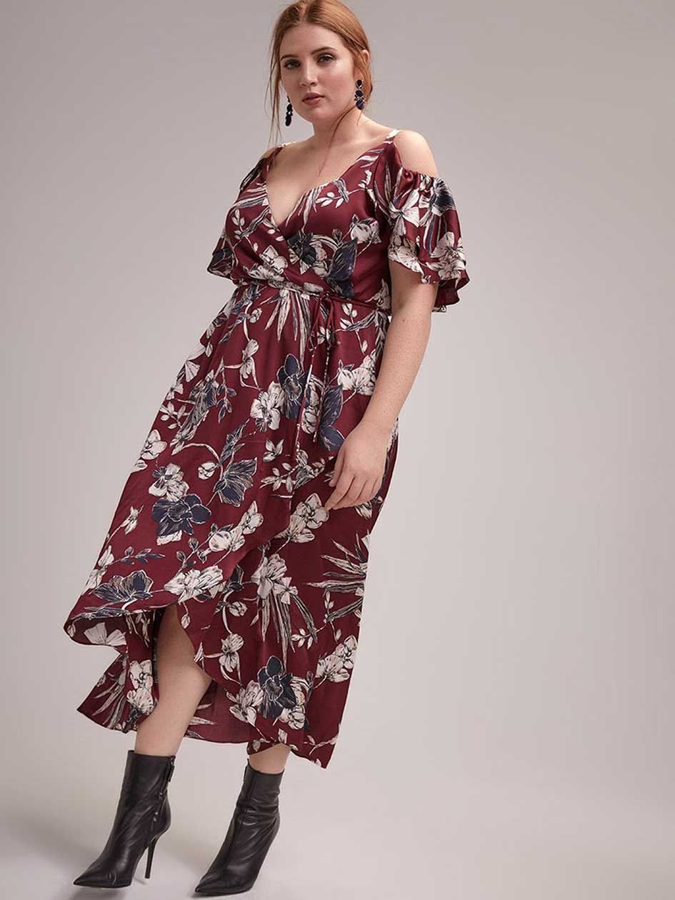 6563fd67b9d Faux-Wrap Fit and Flare Printed Maxi Dress - Michel Studio