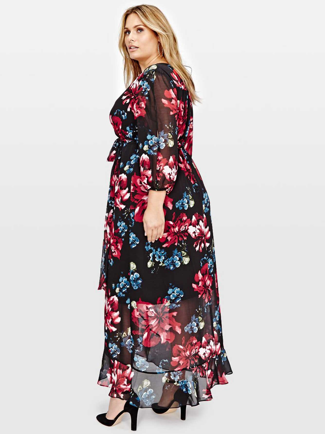 Michel Studio Sangria 3/4 Sleeve Wrap Printed Maxi Dress | Addition Elle