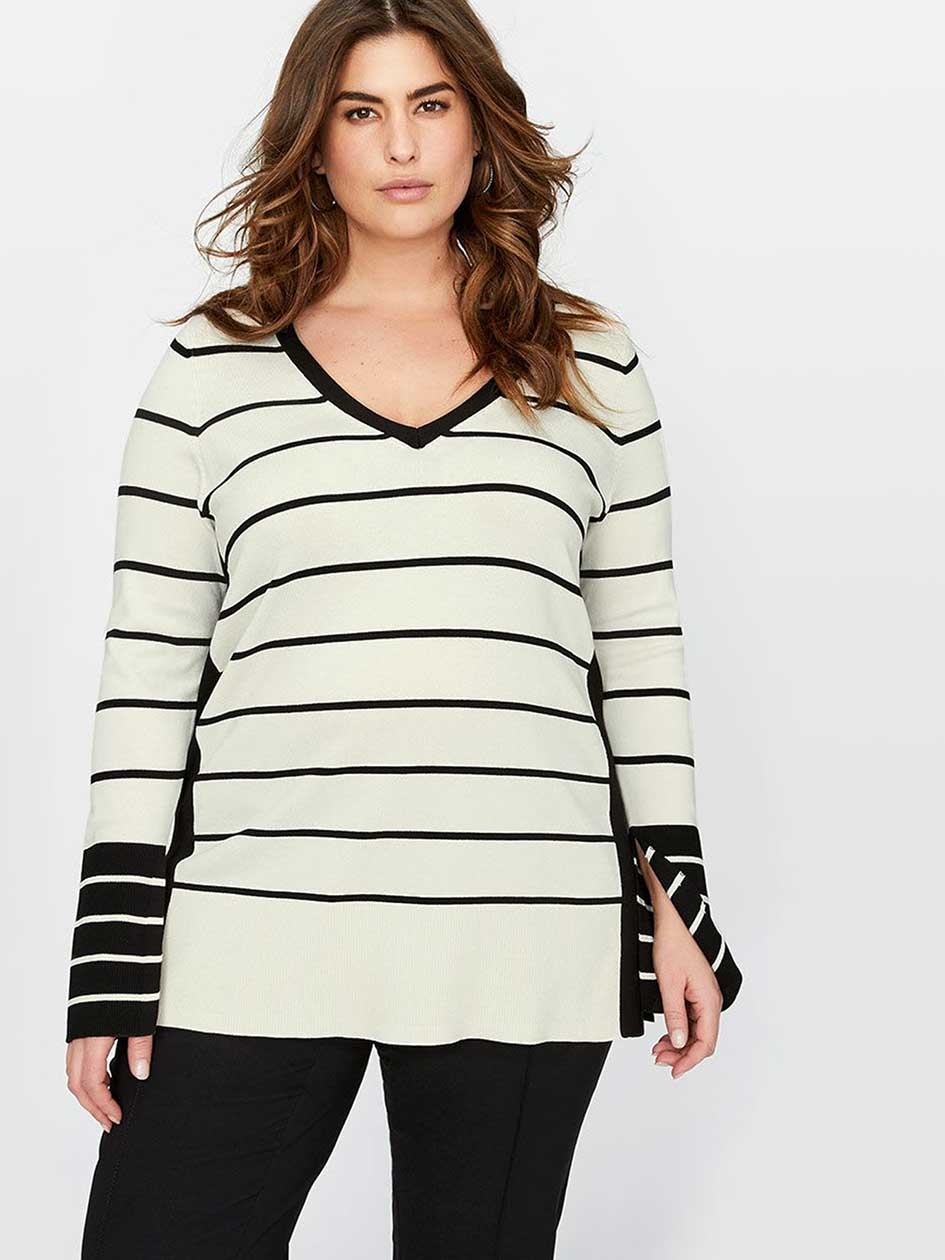 Michel Studio Striped Sweater with Slits