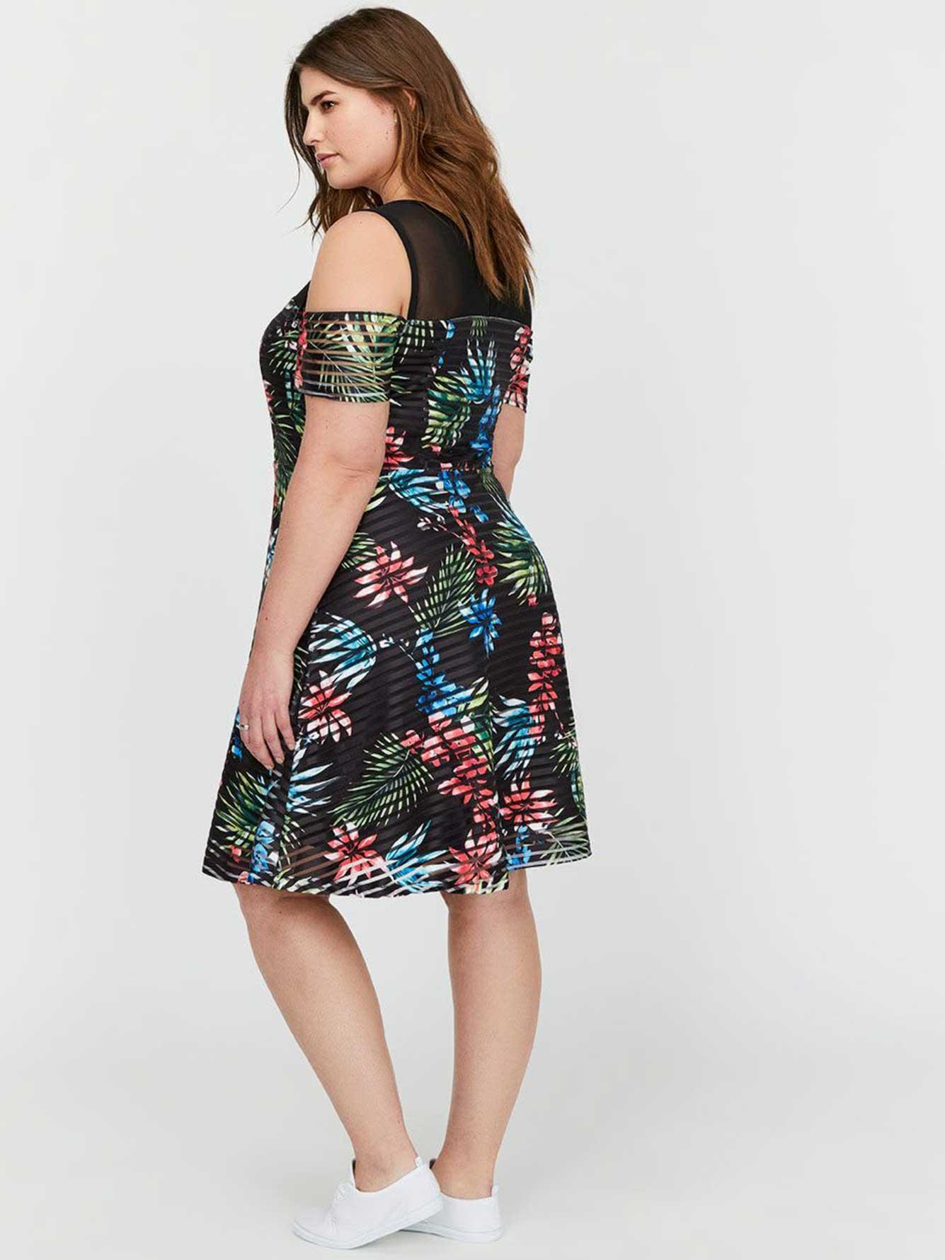 5808b0929117 Michel Studio Fit & Flare Cold Shoulder Printed Dress | Addition Elle
