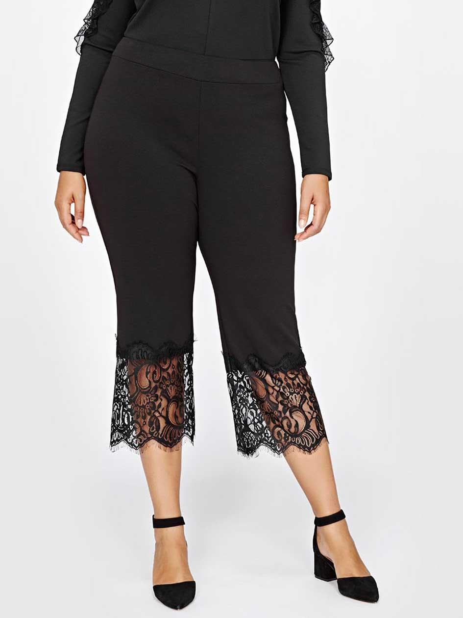 Michel Studio Crop Pant With Lace Detail.Black.16