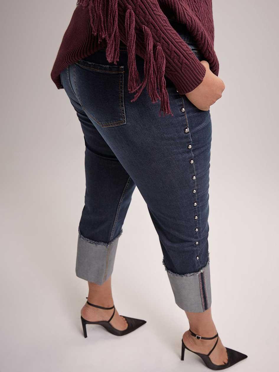 61dc76cbffd Studded Straight Jeans with Cuff - RACHEL Rachel Roy