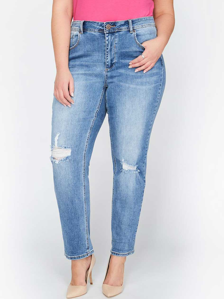 L&L Authentic Slim Jean with Rolled Hem, Relaxed Fit