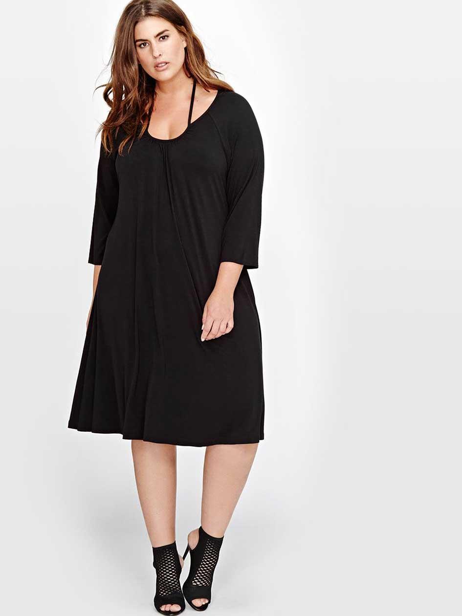 L&L A-Line Dress with Halter Tie.Black.1X