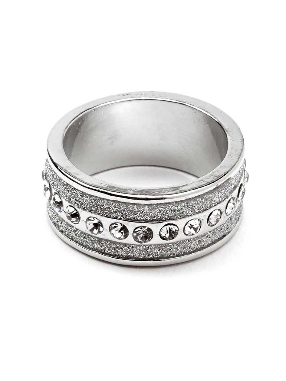 Wide Ring with Rhinestones