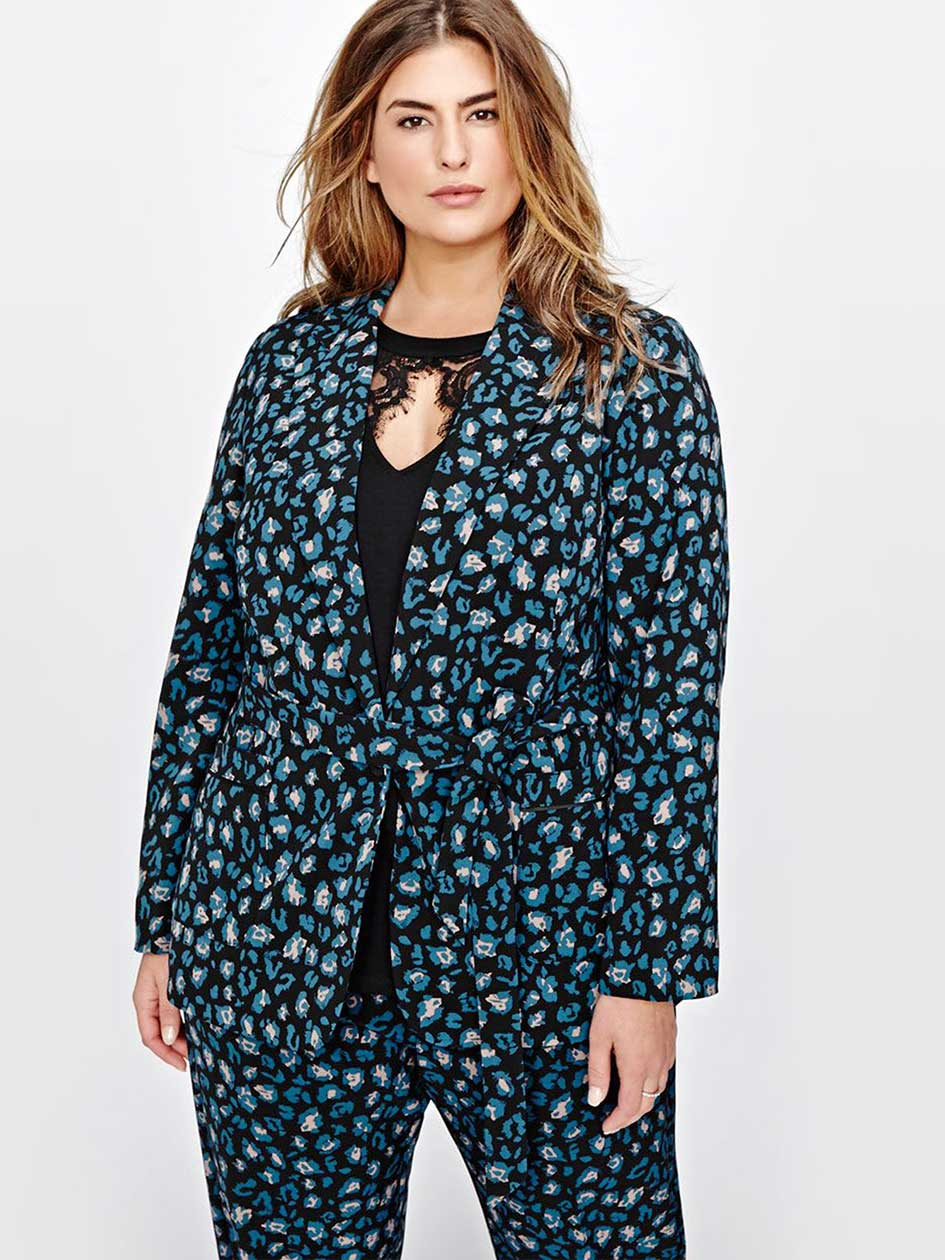 Michel Studio Printed Jacket with Sash