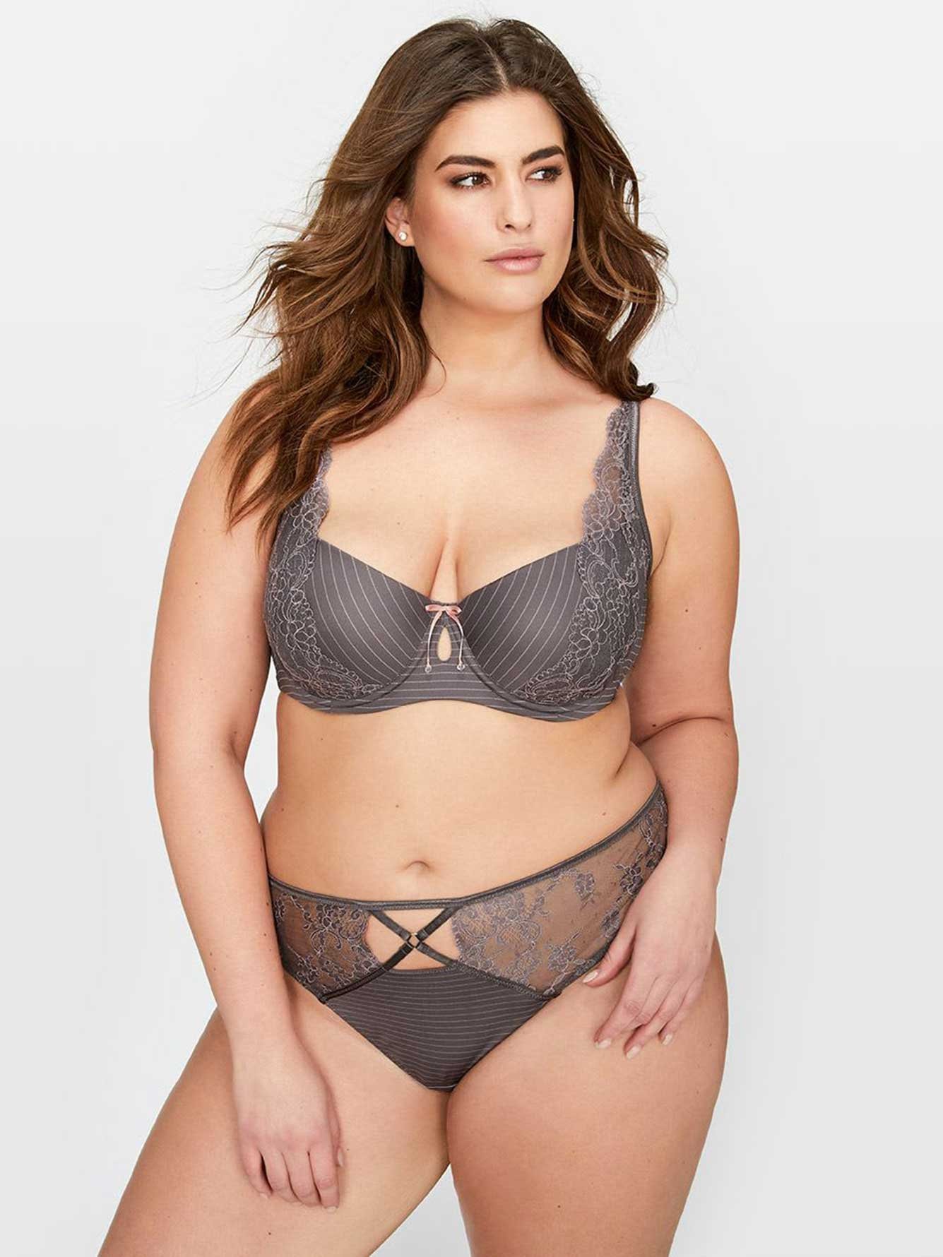 f8cc5532c2 Ashley Graham Lace and Striped Diva Bra