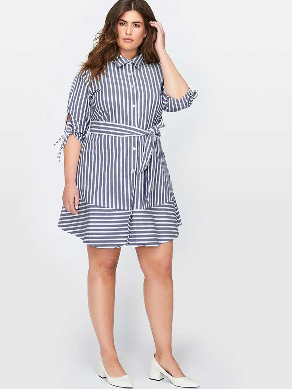 Michel Studio Blue Striped Shirt Dress