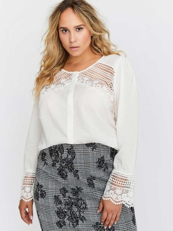 Crew Neck Blouse with Crochet Details - L&L