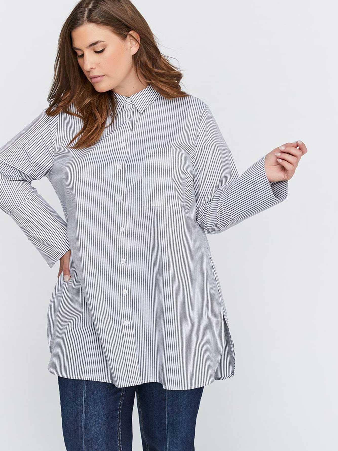 ad968ad3a60 Long Sleeve Striped Boyfriend Tunic Shirt with Pearl Cuff Detail - Michel  Studio