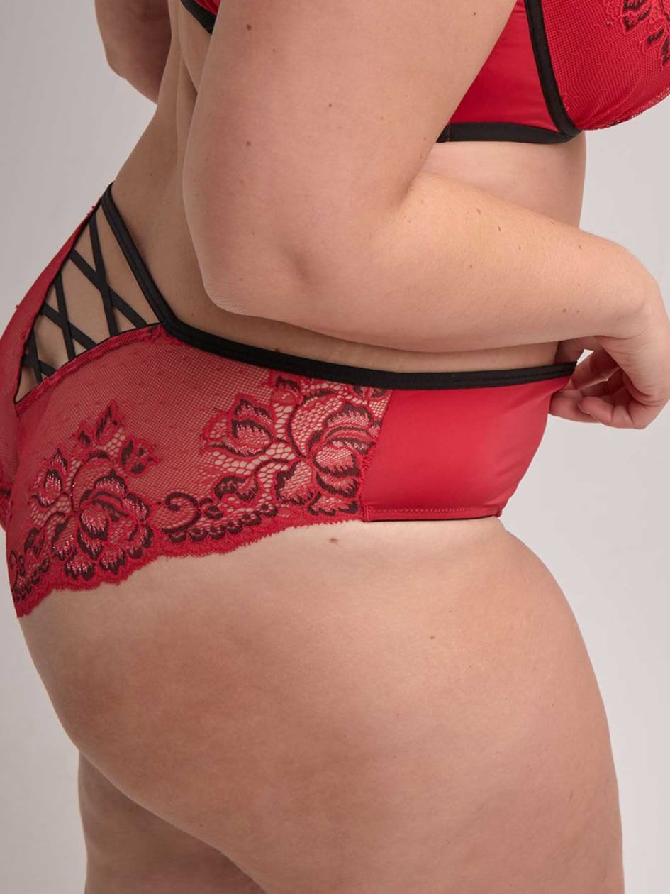 Low Rise Bikini Panty with Cross Dye Lace - Ashley Graham