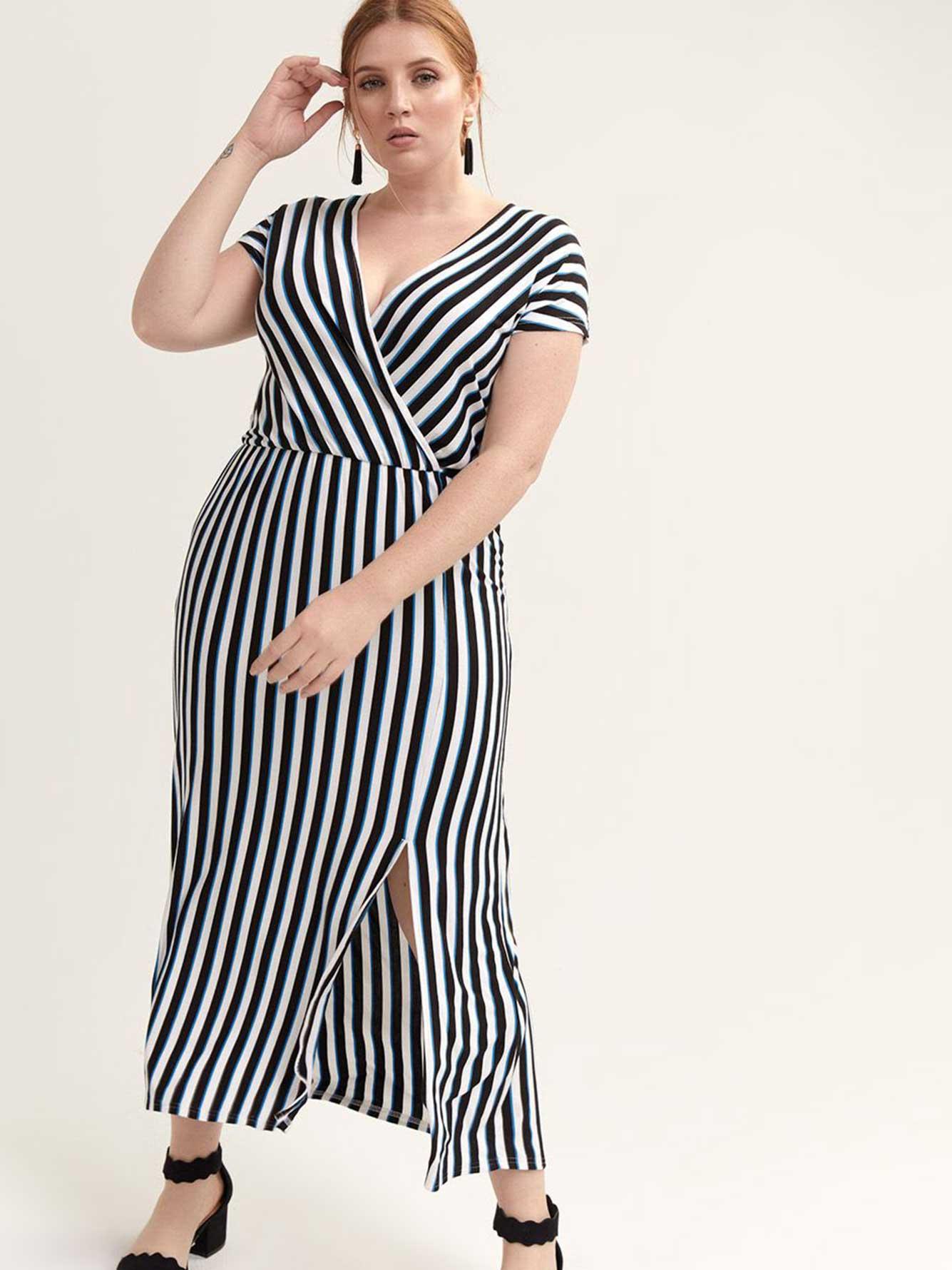 8366f22188c Faux-Wrap Striped Maxi Dress - Michel Studio
