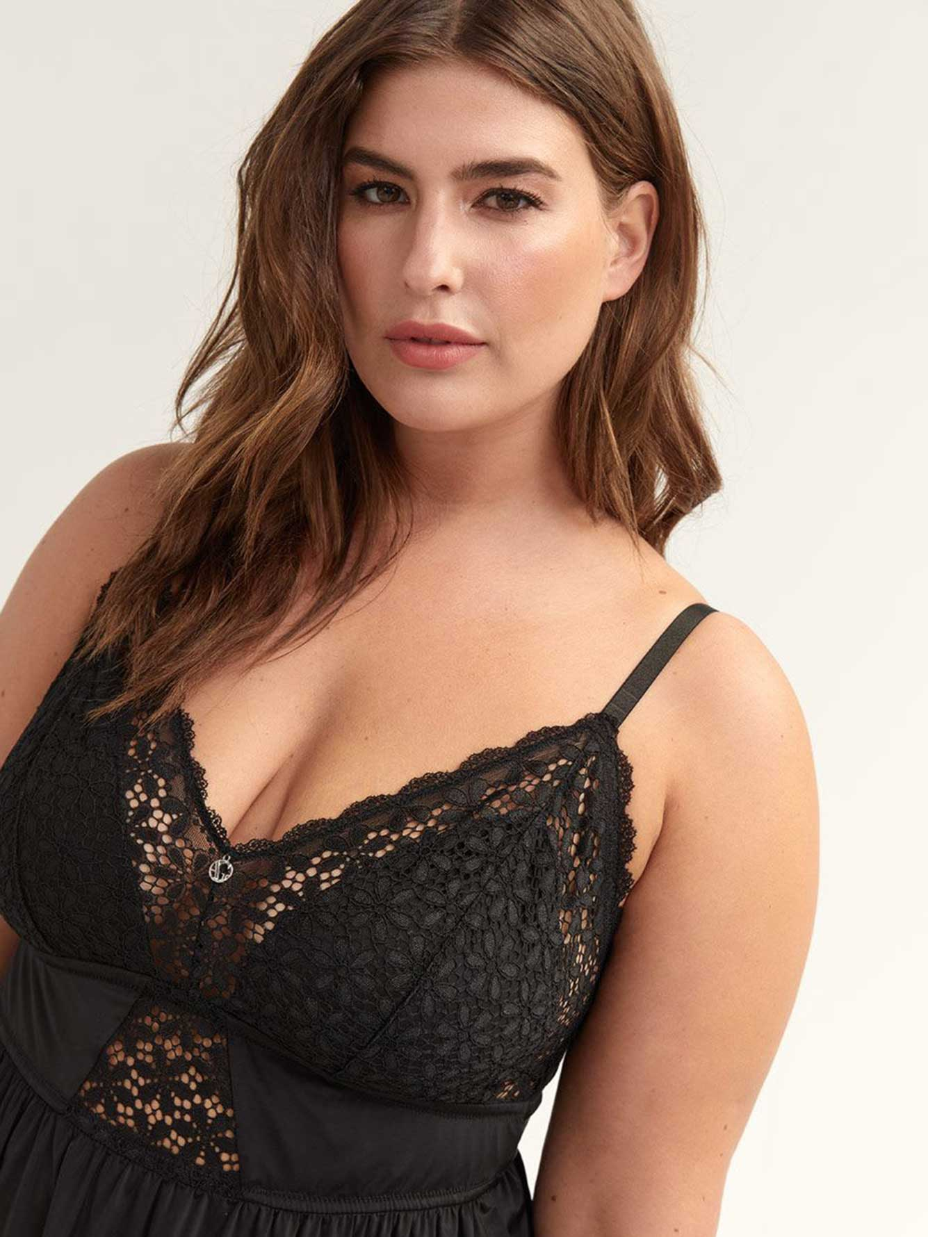 Solid Babydoll with Lace - Ashley Graham