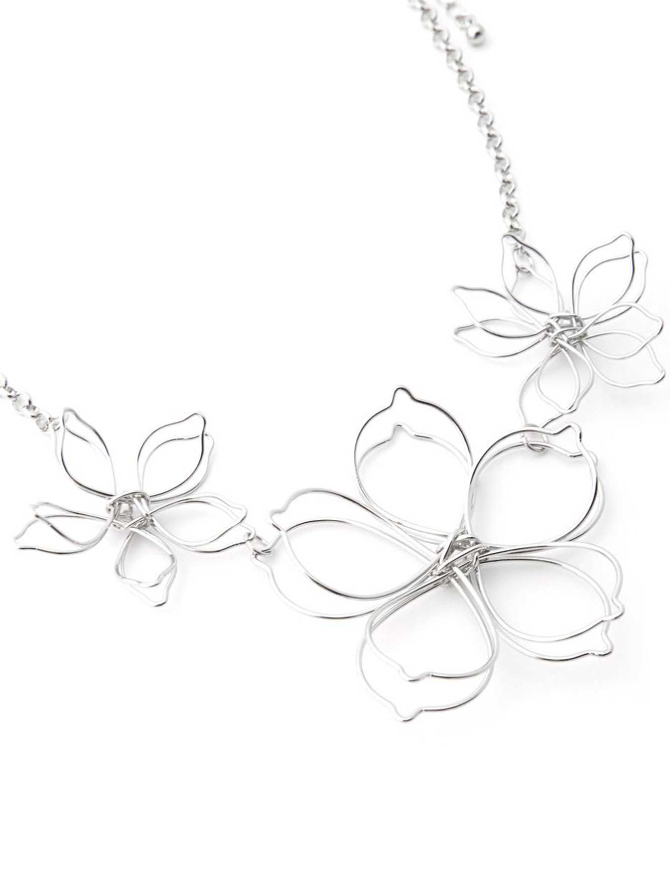 rose blossom media floral jewelry metal set flower silver bridal crystal necklace gold wedding
