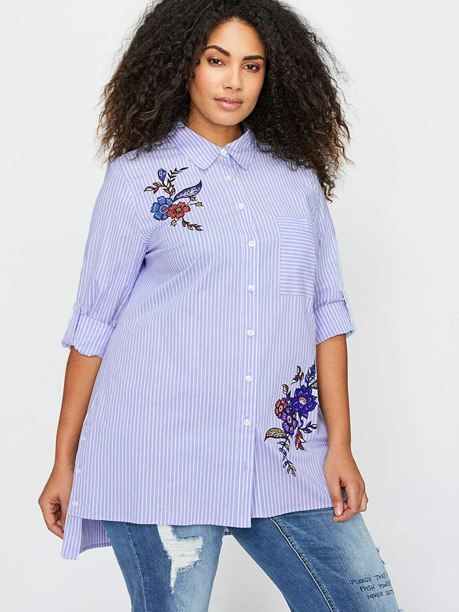 L&L Boyfriend Shirt with Embroidery