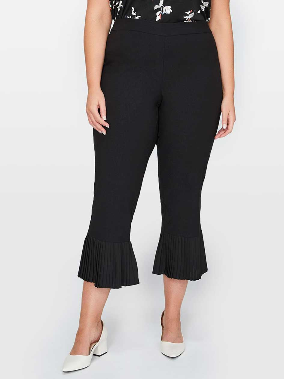 Michel Studio Fitted Pull-On Ankle Pants With Pleated Cuffs