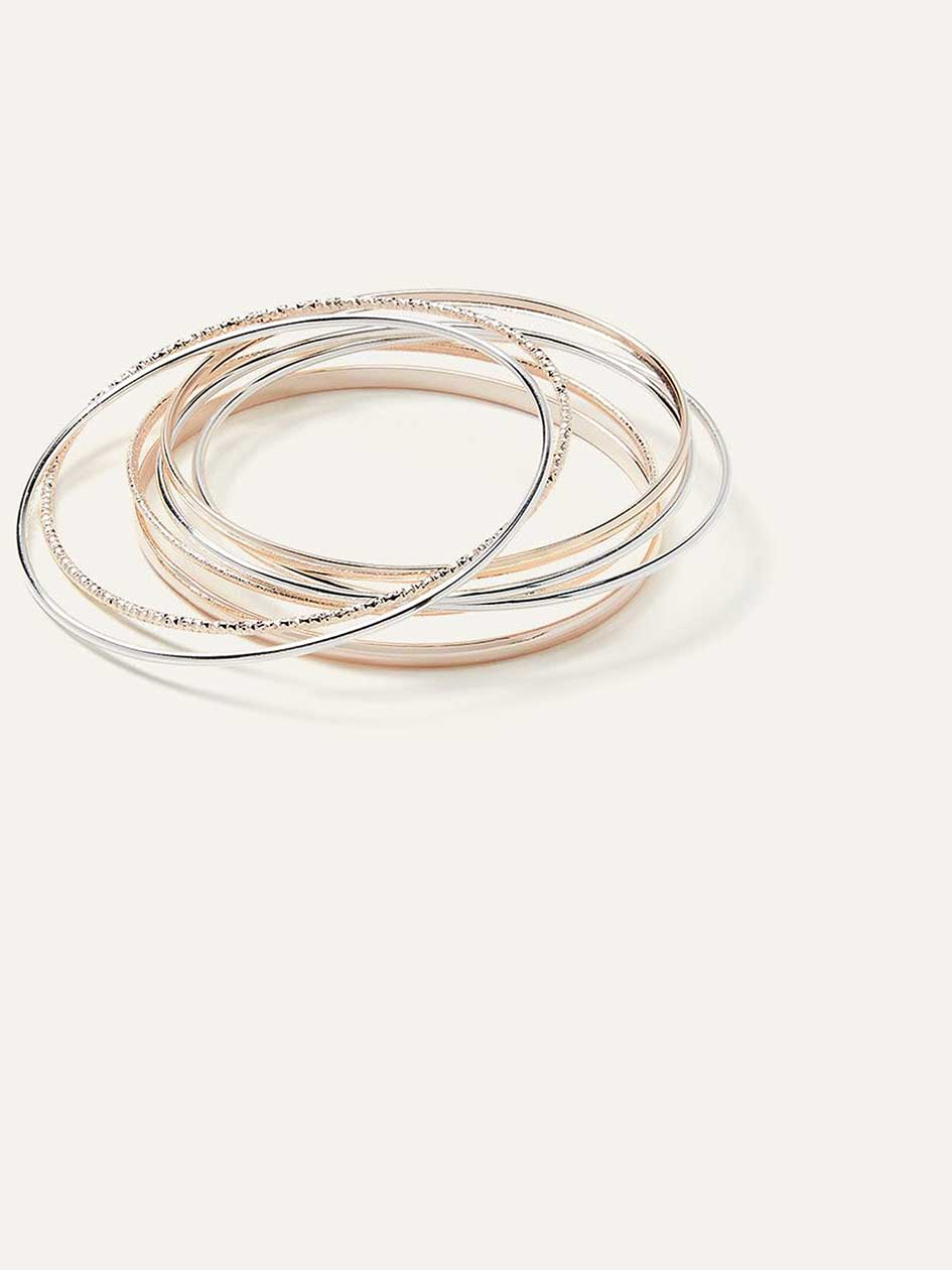 Set of Metallic Bangle Bracelets